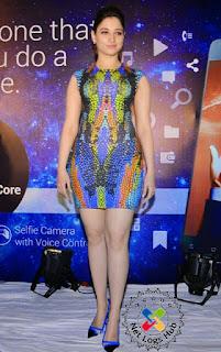 Indian Actress Tamannaah Bhatia Stunning Hot leg show in tight short dress at Celkon mobile Octa 510 launch event - NetLogsHub