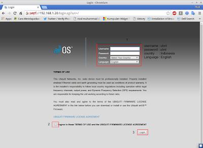 Kemudian buka web browser akses ke ubntnya dengan ip 192.168.1.20, lalu login dengan username dan password = ubnt country indonesia dan bahasa english > centang agree > login