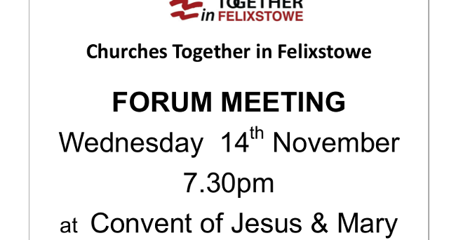 In Touch: Churches Together in Felixstowe Forum 14/11/2018