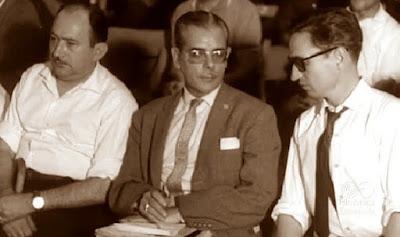 Los ajedrecistas Joan Torquet, Antonio Medina y José Luis Sánchez Fernández