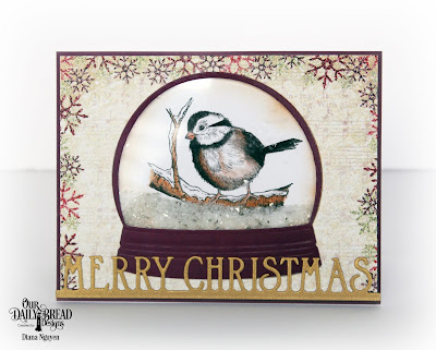 Our Daily Bread Designs Stamp Set: Winter Chickadee, Custom Dies: Merry Christmas Border, Snow Globe, Paper Collection: Christmas Collection 2015