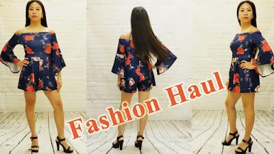 Asian Model in a Off the Shoulder, Flower Print Romper, Fashion Haul, Studio Edition. Miami Fashion (RMNOnline.net)