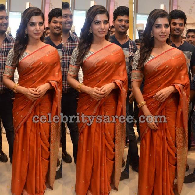 Samantha Orange Silk Saree