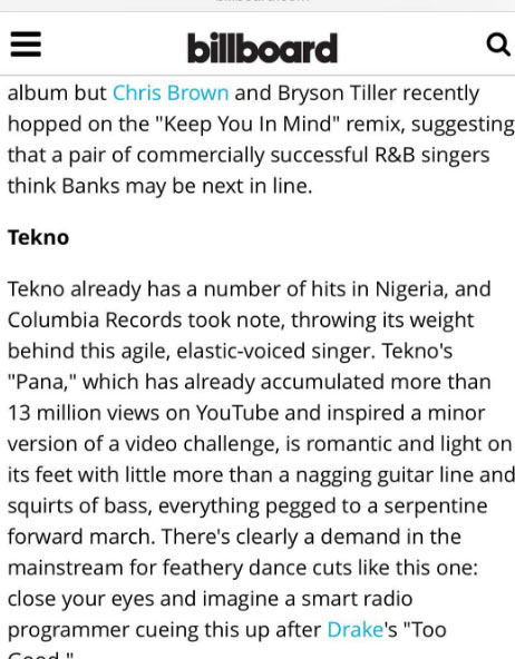 USA: Tekno is one of the artistes to watch in 2017 - Billboard Magazine