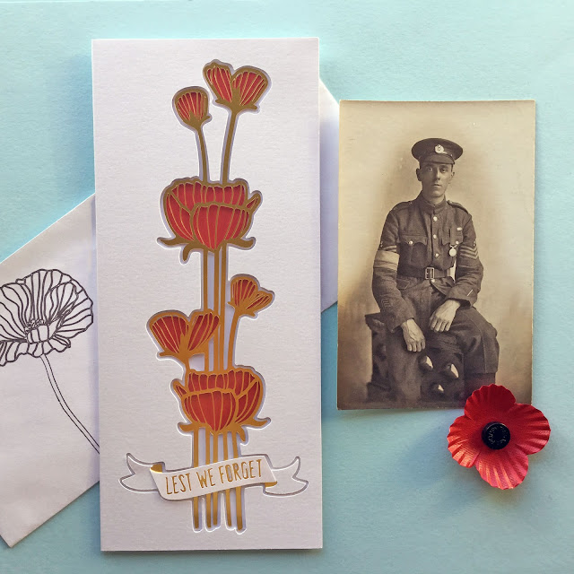 Foil and Acetate Stained Glass Poppy Card by Janet Packer (Crafting Quine). Remembrance Day, Veterans Day, Armistice Day card. Step-by-step Tutorial at http://silhouetteuk.blogspot.co.uk/2017/11/foil-and-acetate-stained-glass-cards.html. Cutting file by Hero Arts. Also at http://craftingquine.blogspot.co.uk
