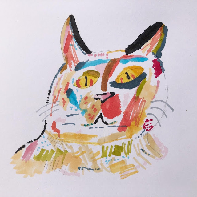Chez Maximka, Cooltime artist graphic pens, cat drawing
