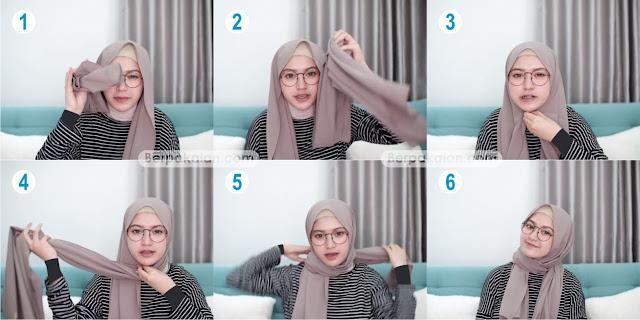 Style Kelima Tutorial Hijab Pashmina untuk Wanita Berkacamata Simple TERBARU 2019