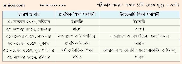 PSC-Exam-Routine-2017-Primary-School-Certificate-19-Novembe