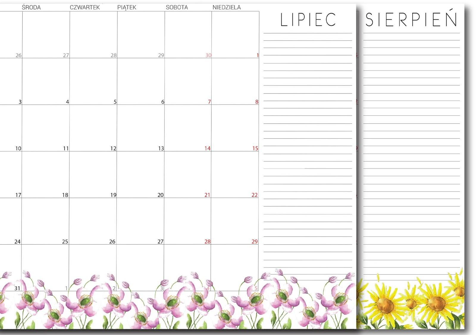 Planner na lipiec i sierpień 2018 - zaplanuj swoje wakacje