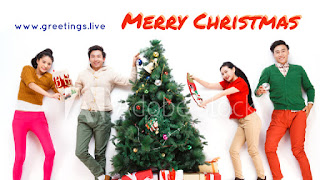 Christmas themed greeting by Chinese models