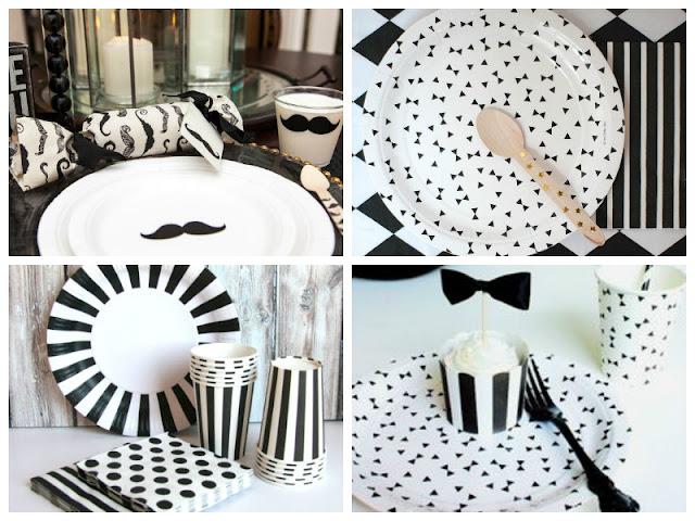 Descartáveis festa preto e branco