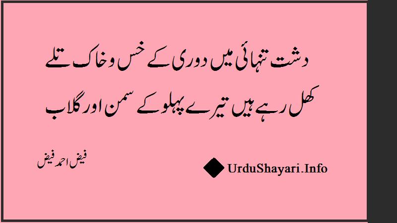Dasht e Tanhayi Mie faiz ahmad faiz shayari - 2 Lines Poetry On Gulab Sehraa Tanhai - فیض احمد فیض شاعری