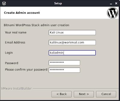 setting up wordpress admin password