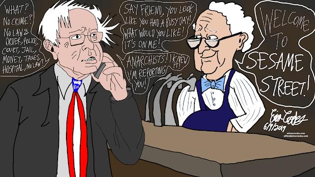Bernie Sanders meets Mr Hooper from Sesame Street