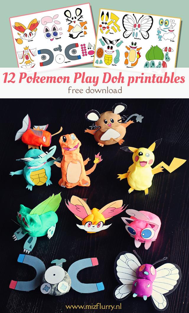 Gratis download Pokemon klei printables. Maak van klei en deze onderdelen je eigen Pokemon. Leuk knutselwerkje voor stoere jongens en meiden.