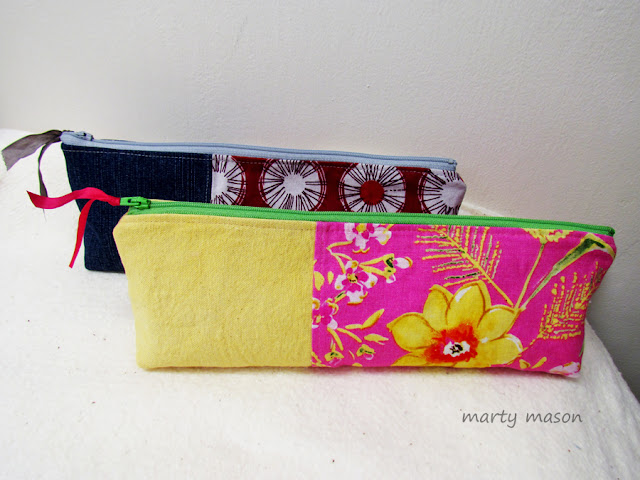 Noodlehead pencil pouch pattern - stitched up by Marty Mason
