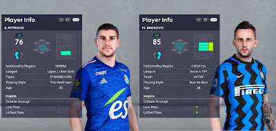 PES 2021 Faces Marcelo Brozovic & Stefan Mitrovic