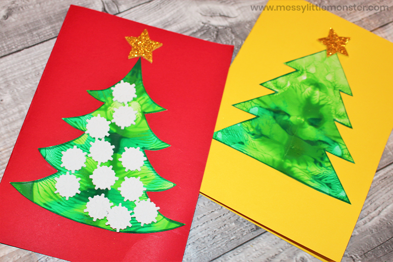 Squish art Christmas tree craft for kids