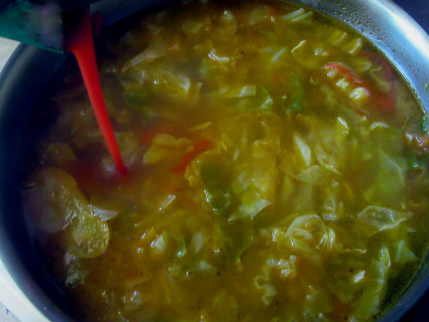 Croatian cabbage soup by Laka kuharica: Add vinegar and tomato puree.
