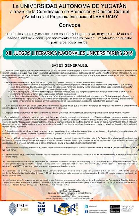 NOTICIAS XIII Juegos Literarios Nacionales Universitarios