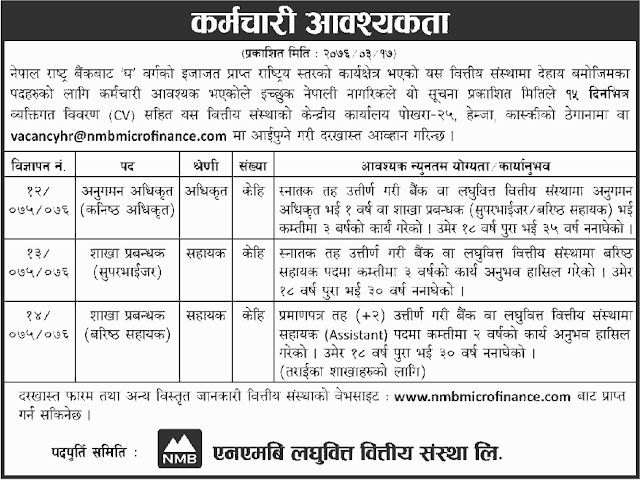 Vacancy Notice from NMB Microfinance
