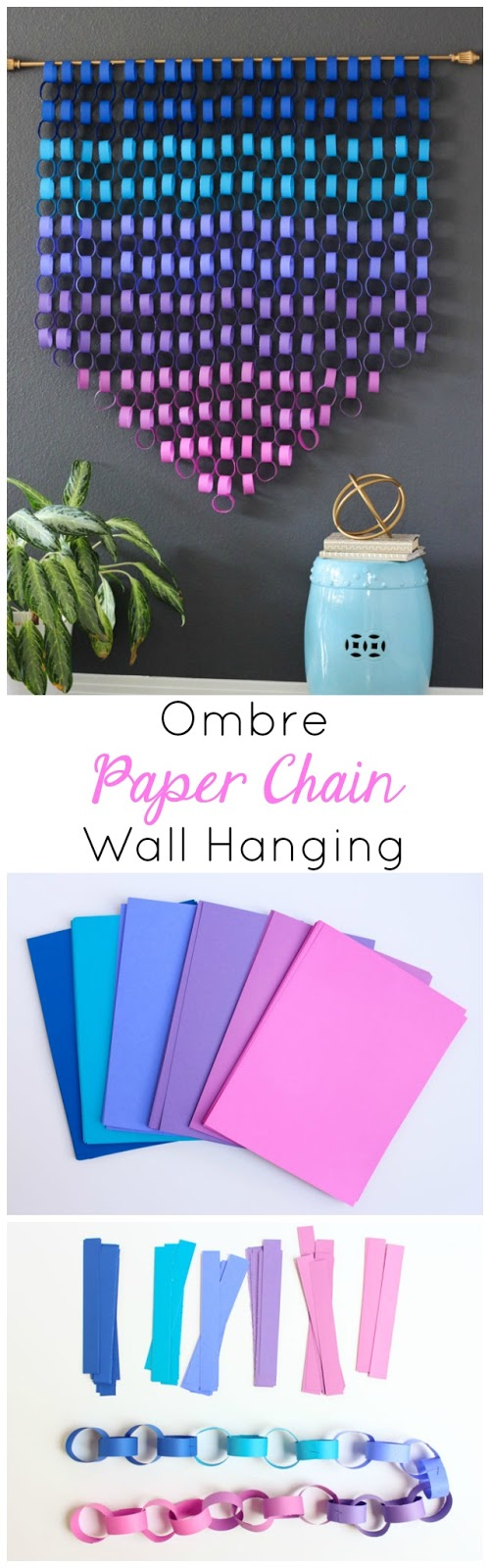 Make gorgeous modern paper wall art with simple paper chains! #paperchains #astrobrights #papercrafting #wallart