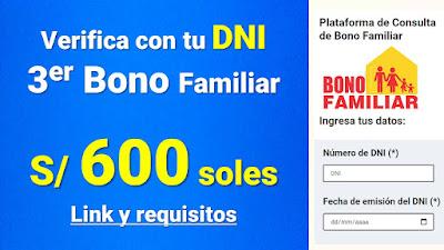 LINK Verifica si serás beneficiario del 3er BONO FAMILIAR de 600 soles