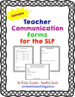 https://www.teacherspayteachers.com/Product/Teacher-Communication-Forms-for-the-SLP-Editable-1966347