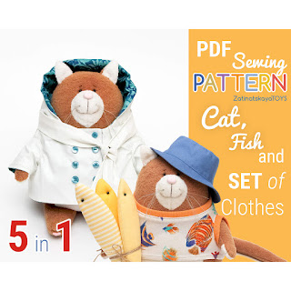 cat patterns for sewing plush toys with a set of clothes