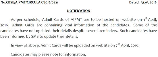 AIPMT Admit 2016 Delay Circular
