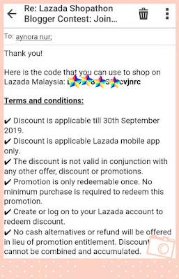 Menang Voucher RM300 Dari Lazada Shopathon Blogger Contest