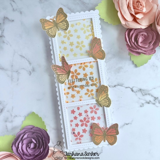 Slimline Butterfly Shaker Card by Farhana Rahman | Monarchs Stamp Set, Petite Flowers Stencil and Slimline Masking Stencil and Die Sets by Newton's Nook Designs #newtonsnook #handmade