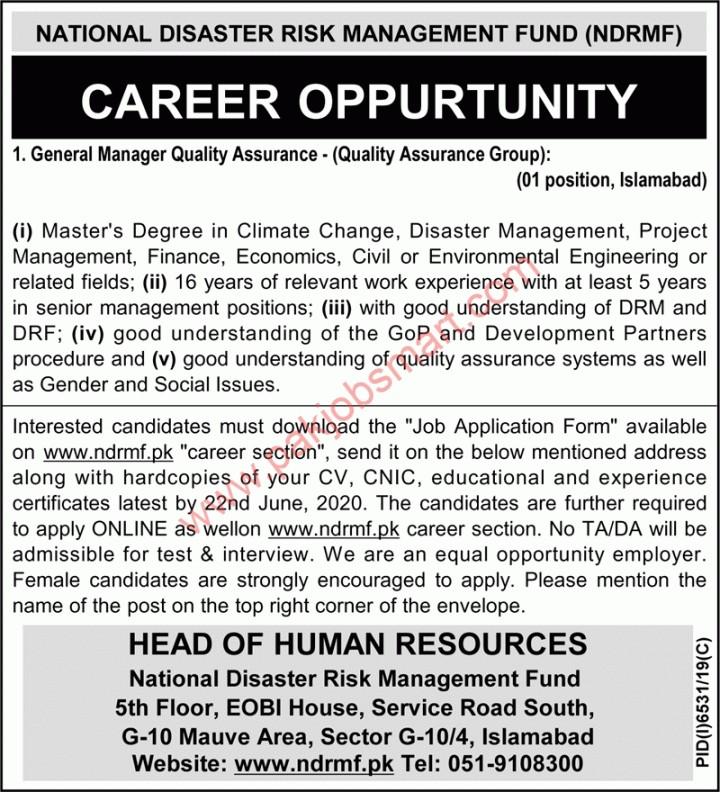 National Disaster Risk Management Fund NDRMF jobs