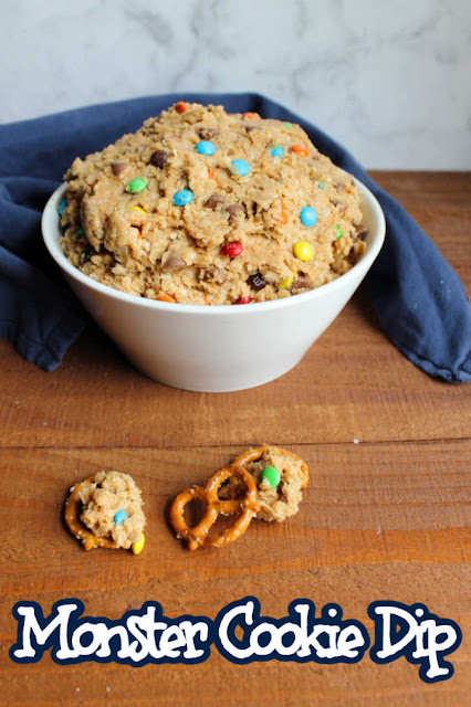 Monster cookie dip is a super fun snack for all of the monster cookie lovers in your life. It is kind of like getting permission to eat cookie dough. Plus you can use fun dippers to do it!  Put this on your must make list for your next get together.