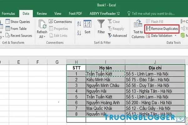 Cách xóa dữ liệu, nội dung trùng lặp trong Excel