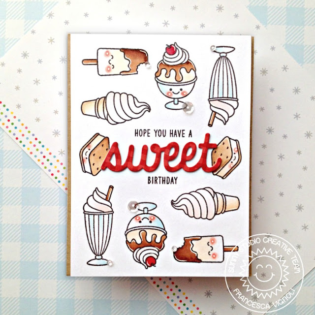 Sunny Studio Stamps: Summer Sweets Sweet Word Die Birthday Card by Franci Vignoli