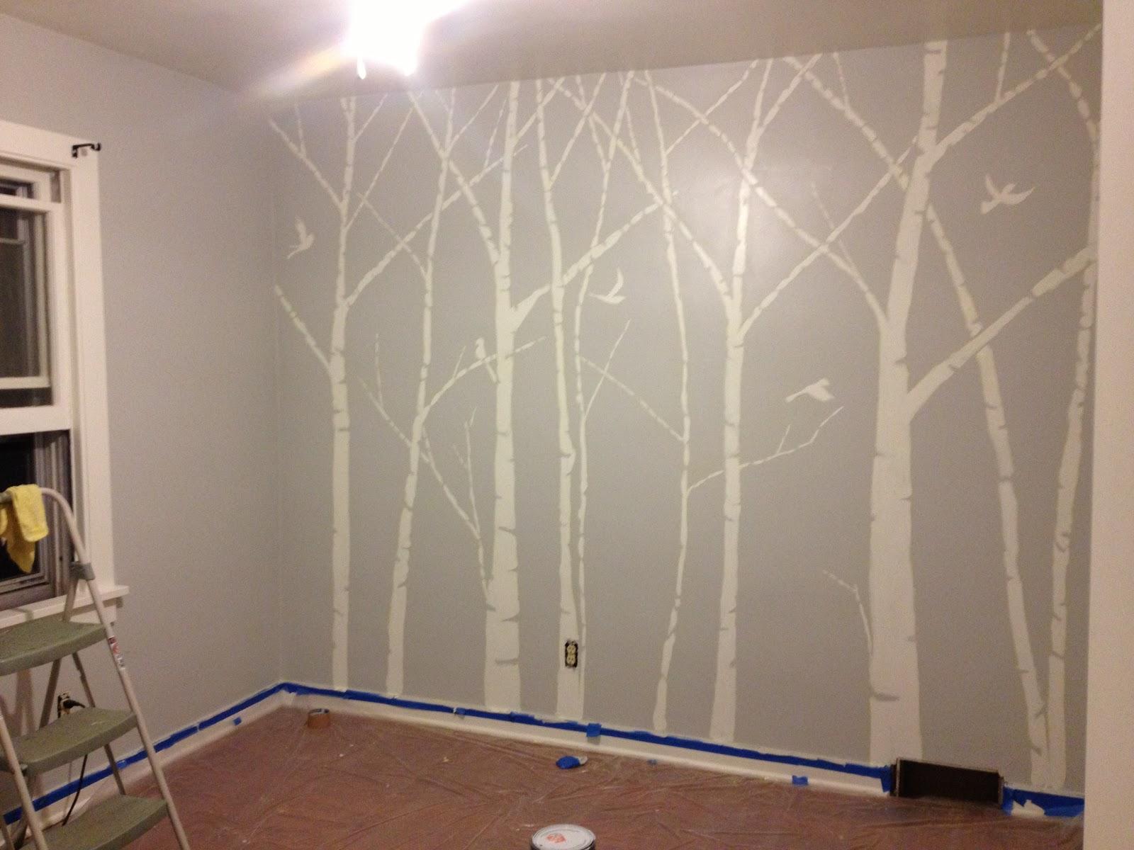 White Birch Tree Mural