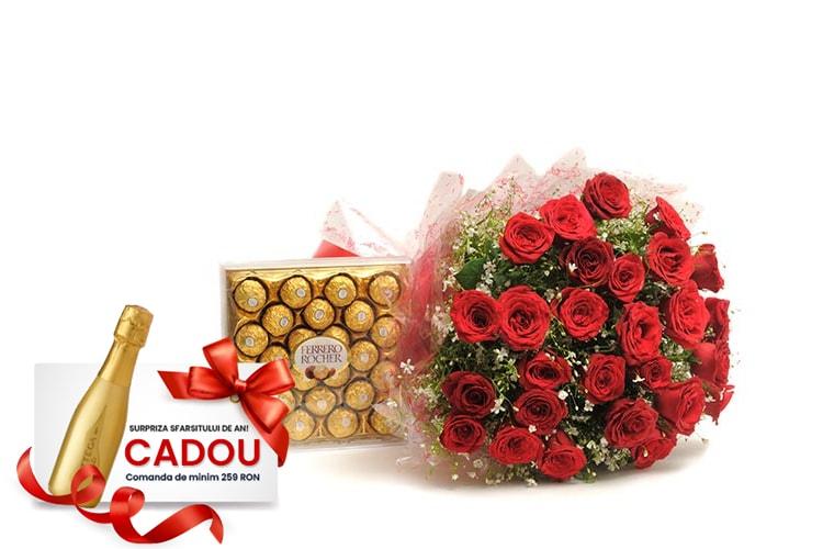 Buchet 30 trandafiri si Ferrero Rocher