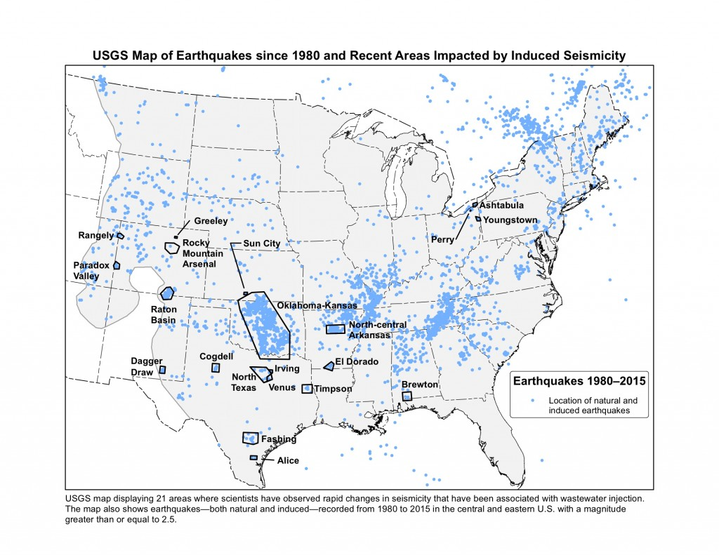 USGS map pf earthquakes sicne 1980 & recent areas impacted by  induced seismicity