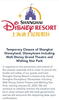 Shanghai Disneyland Closing Corona Virus App Announcement