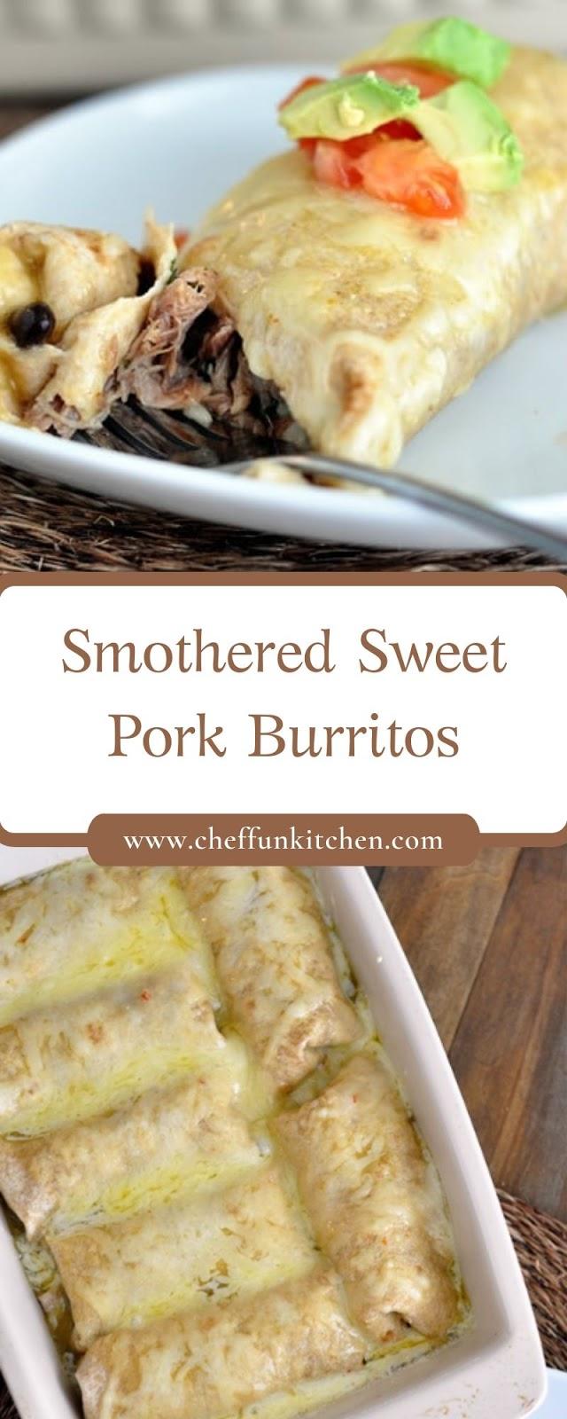 Smothered Sweet Pork Burritos
