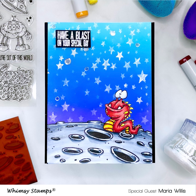 Cardbomb, Maria Willis, Whimsy Stamps, cards, cardmaking, stamps, stamping, ink, paper, papercraft, create, craft, art, diy, color, ink blend, nuvo,ranger ink,tonic studios, galaxy, moon, birthday,