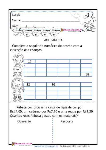 sequência numérica, situação-problema, atividades de matemática para o 3º ano