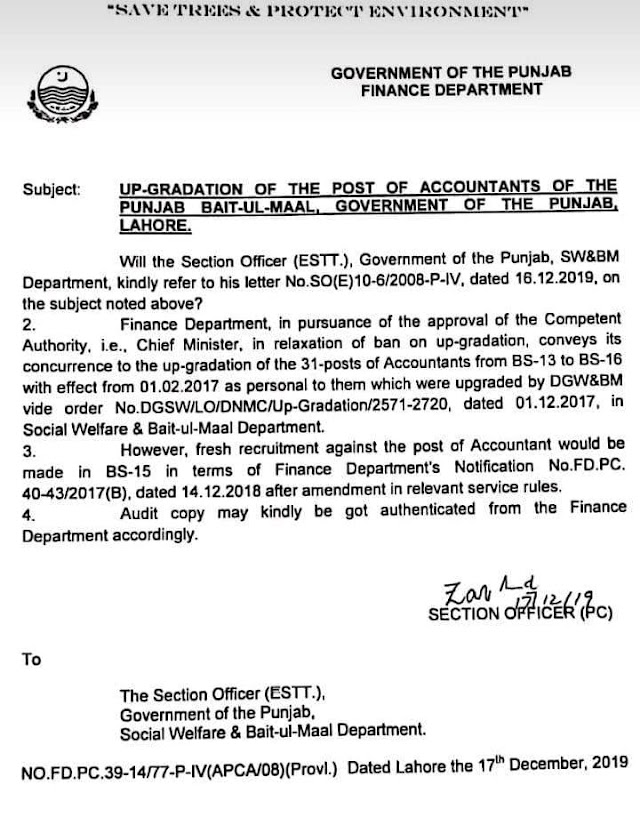 UP-GRADATION OF THE POST OF ACCOUNTANTS OF THE PUNJAB BAIT-UL-MAAL