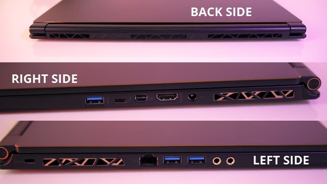 The MSI GS65 Stealth-004 gaming laptop has air exhausts placed at both left and right sides and at backside.