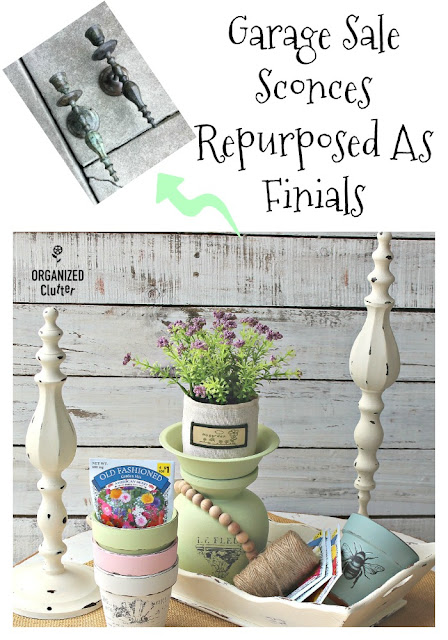 Garage Sale Sconces Repurposed As Finials #garagesalefinds #upcycle #repurpose #finials #dixiebellepaint