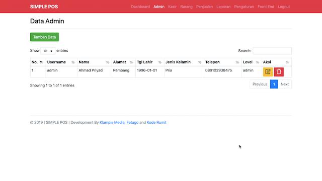 Halaman Module Admin Aplikasi Simple POS