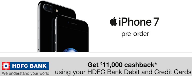 Rs.11000 Cashback on iPhone 7 Pre-Order using HDFC Bank Cards on Amazon