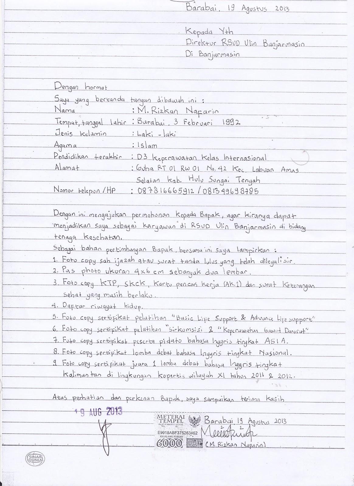 Contoh Surat Lamaran Kerja Yang Baik Dan Benar Di Kertas Folio Contoh Seputar Surat