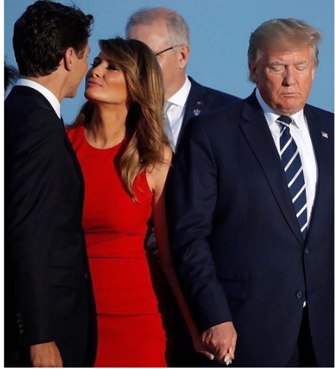 melania - What's happening here? This photo of President TRUMP, First Lady MELANIA and Canada's JUSTIN TRUDEAU is going viral (LOOK)